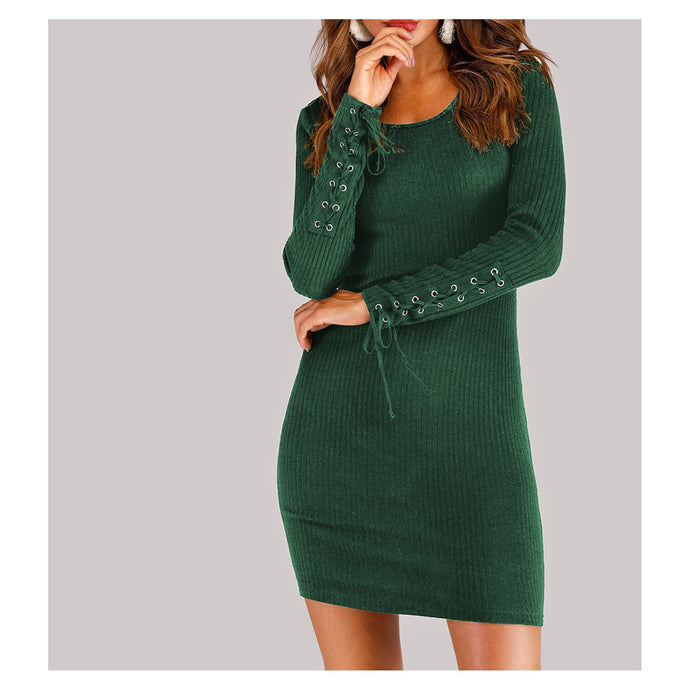 Green Long Sleeve Lace Up Details Ribbed Bodycon Dress