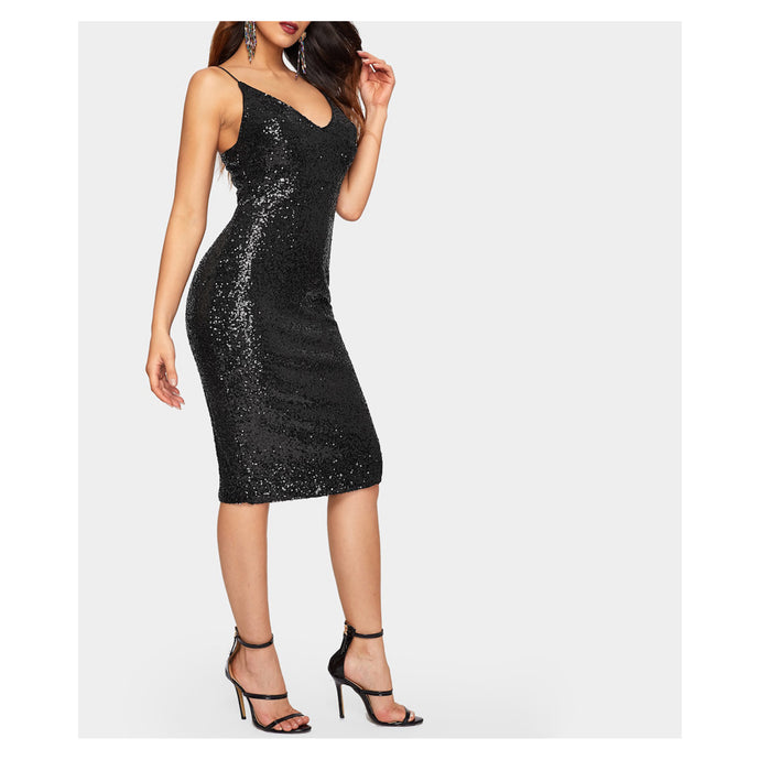 Dress - Black Sleeveless Bodycon Sequin Cocktail Midi Dress - MBM Unlimited