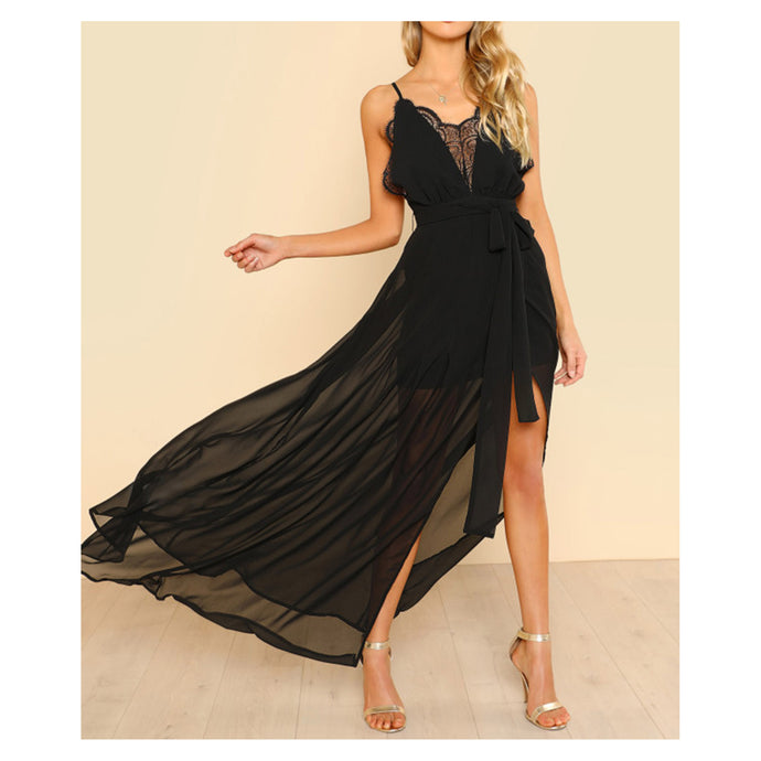 Dress - Black Sleeveless Plunge Neck Cami Maxi Dress - MBM Unlimited