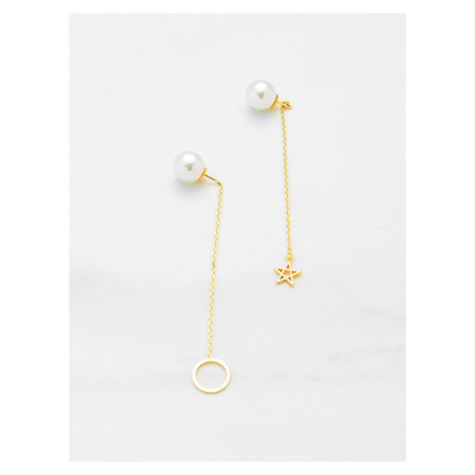 Earrings - Faux Pearl Ring and Star Drop Earrings - MBM Unlimited