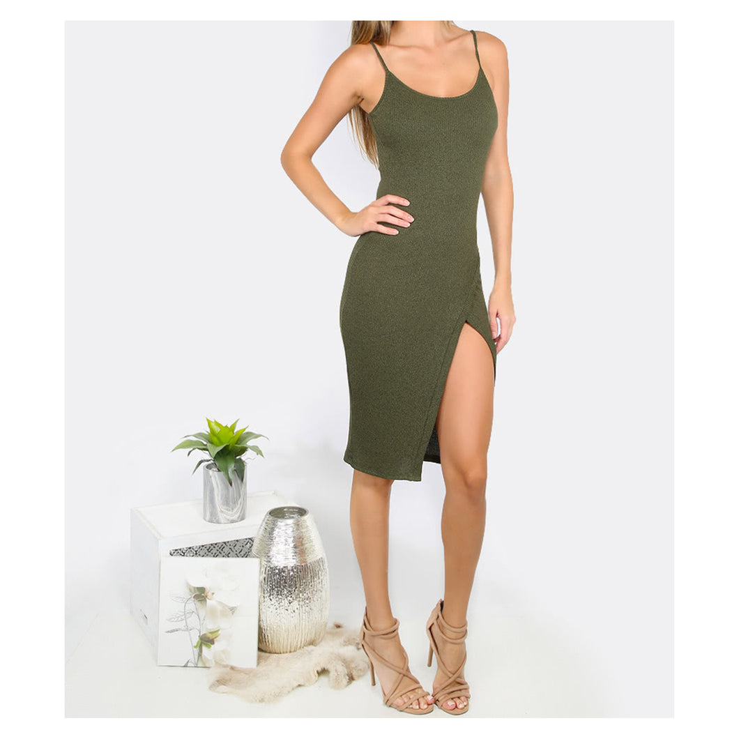 Dress - Green Spaghetti Straps Ribbed Bodycon Midi Dress with Slit - MBM Unlimited