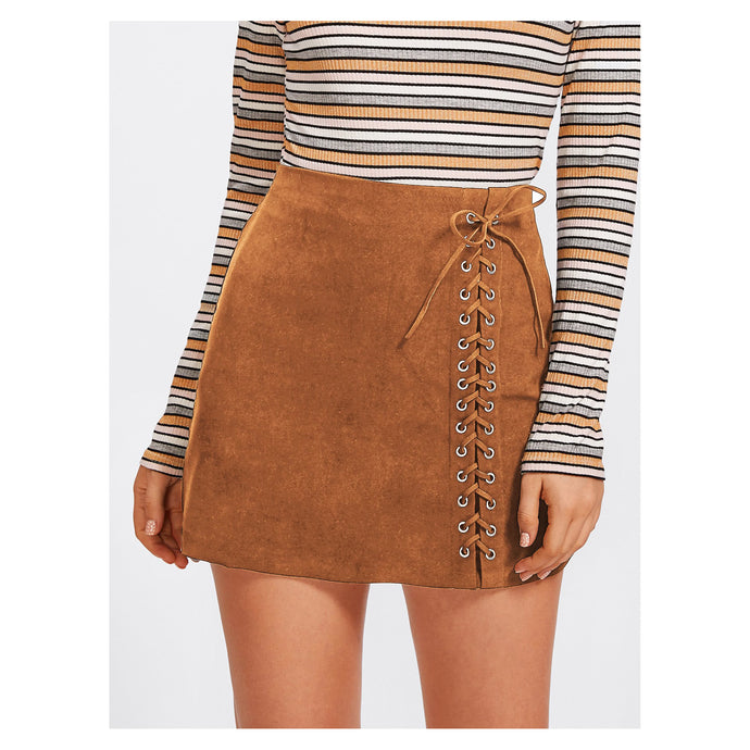 Skirt - Brown Faux Suede Side Lace Up Mid Waist Mini Skirt - MBM Unlimited