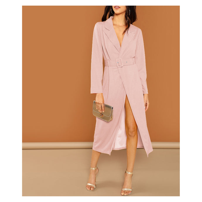Dress - Blush Pink Long Sleeve Belted Peak Collar Trench Dress - MBM Unlimited