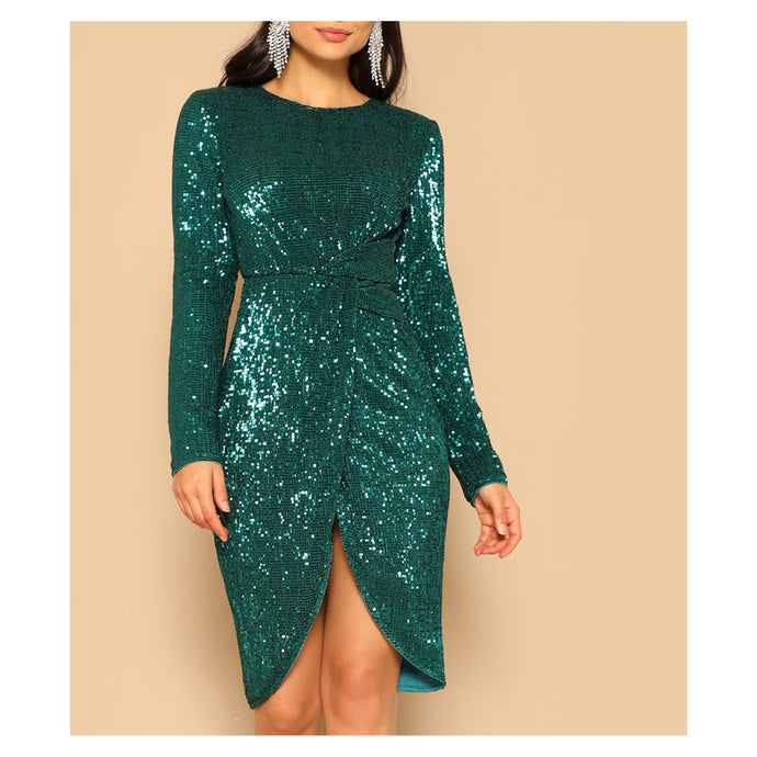 Green Long Sleeve Sequin Front Knot Party Dress