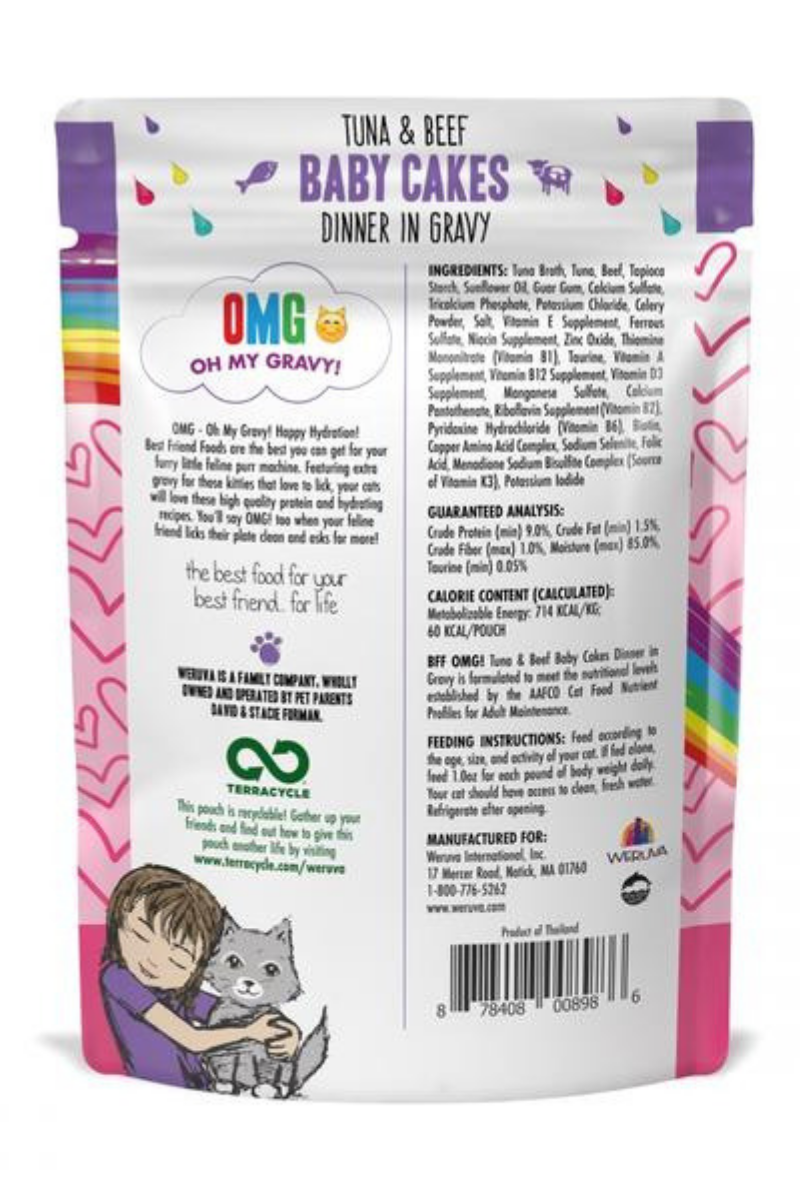 Weruva BFF Tuna and Beef Baby Cakes Recipe Pouches Wet Cat Food