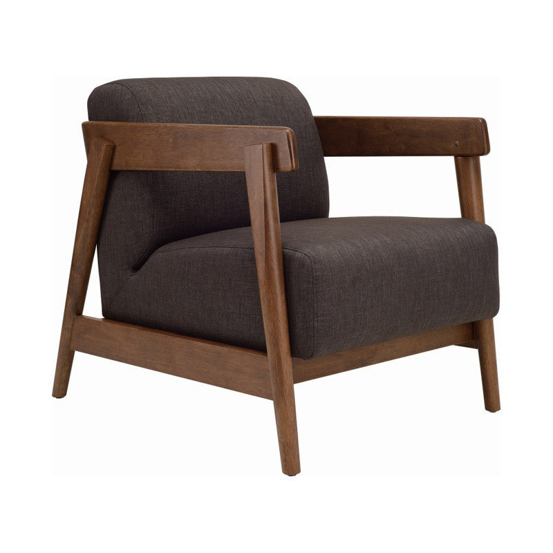 Daewood Lounge Chair In Cocoa & Dark Grey