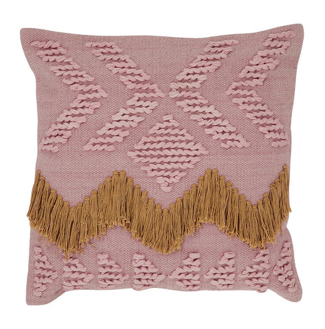 FRINGE CUSHION - BLUSH & TAN FRINGING