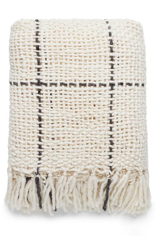 NARVI KNITTED THROW - NATURAL/CHARCOAL