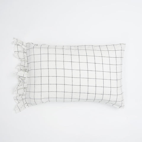 GRID RUFFLE PILLOWCASE SET