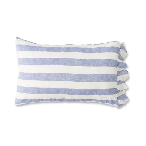 CHAMBRAY STRIPE RUFFLE PILLOWCASE SET