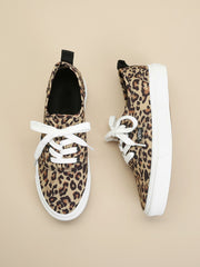 Leopard Lace-Up Sneakers