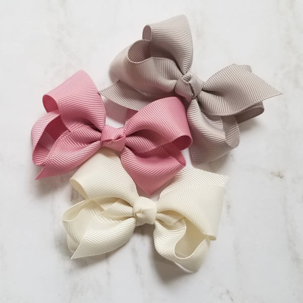 Neutral Petals 3 Pack Grosgrain Hair Bows