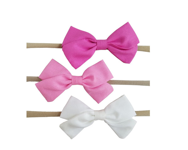 "Handmade 3.5"" Hair Bow on Soft Stretchy Nylon Headband"