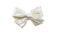 silk white Pinwheel Hairbow Oversize bow, school girl bow, White hair Bow