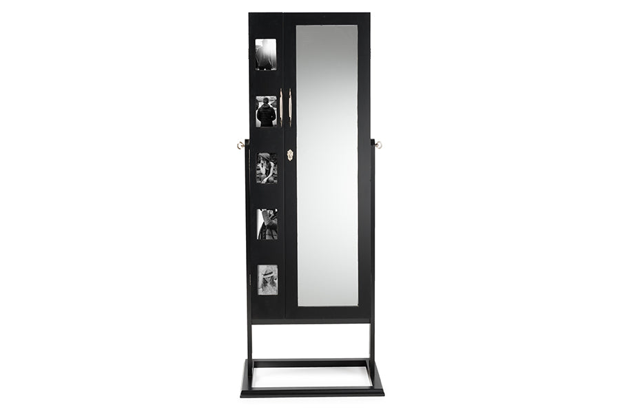Contemporary Double Door Storage Jewelry Armoire Cabinet in Black - The Furniture Space.