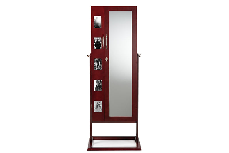 Contemporary Double Door Storage Jewelry Armoire Cabinet in Brown - The Furniture Space.