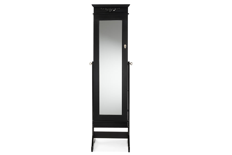 Contemporary Full Length Cheval Mirror Jewelry Armoire in Black