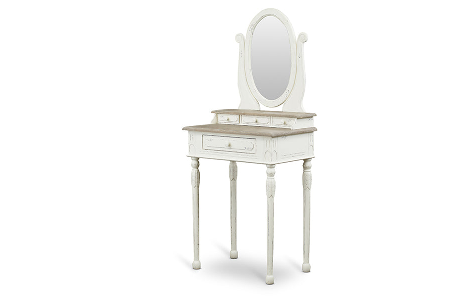 Traditional French Vanity & Stool in White/Light Brown