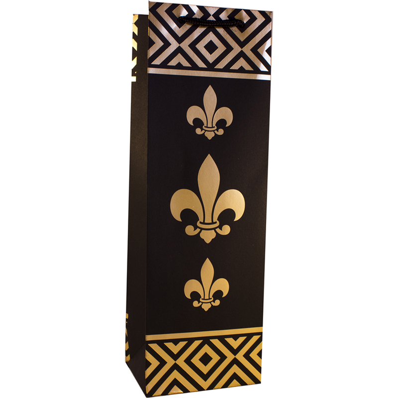 fdl kratf paper foil blfleur de lis wine bottle bag