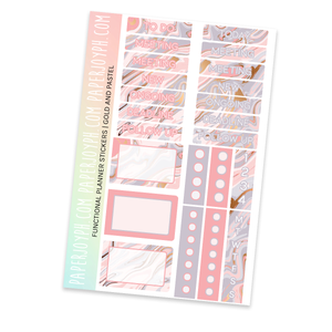 FUNCTIONAL STICKER KITS | Gold and Pastel