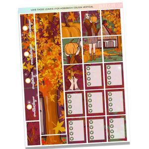 HOBONICHI COUSIN | VERTICAL STICKER KIT | LOVE THOSE LEAVES