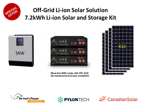 7.2 kWh PylonTech Off-Grid Li-ion Solar Solution Package