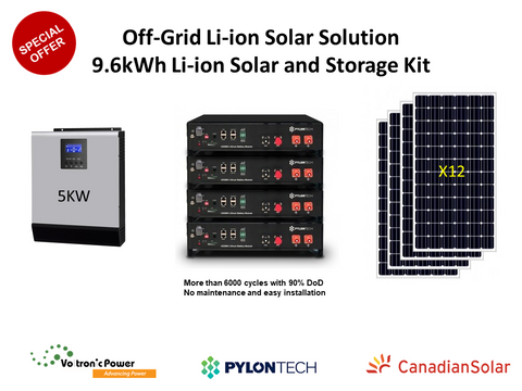 9.6 kWh PylonTech Off-Grid Li-ion Solar Solution Package