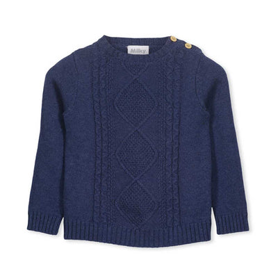 Cable Knit Crew Navy