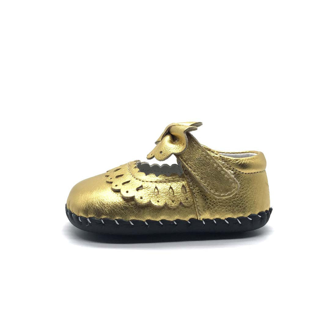 Gold Bow Baby Shoe