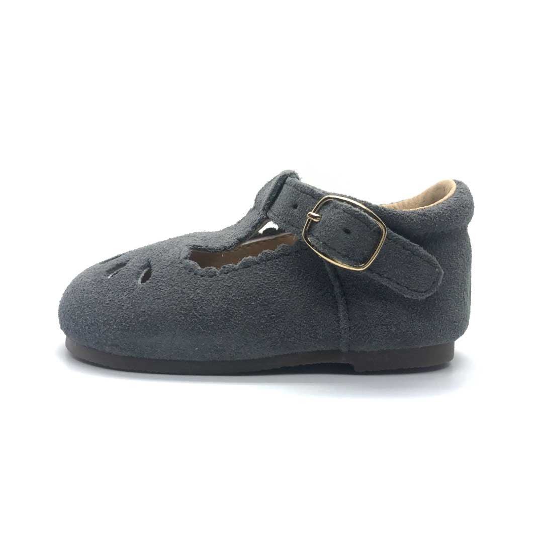 Brighton T-Bar Charcoal Suede