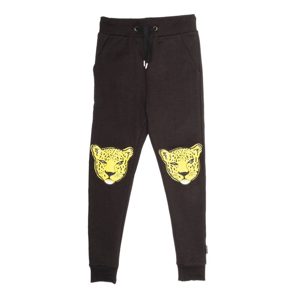 Leopard Trackies Black