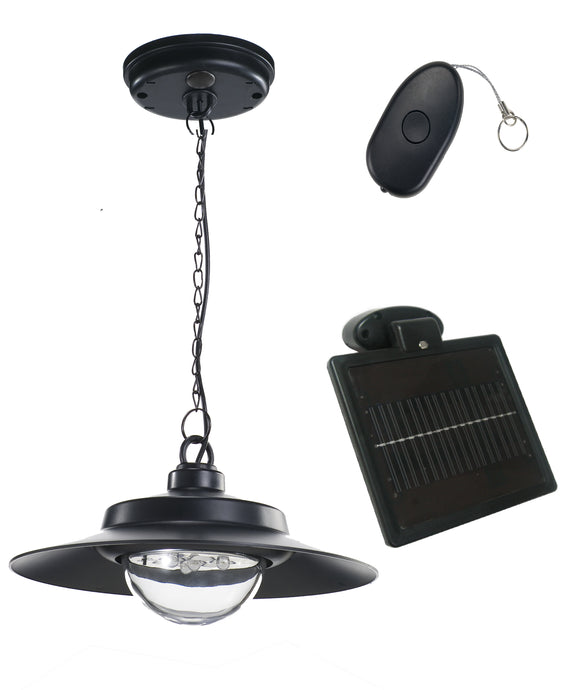 Nature Power Hanging Solar Powered LED Shed Light with Remote Control, Black Finish, 250 Lumens - Ecowareness