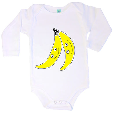 Bugged Out banana long sleeve baby onesie