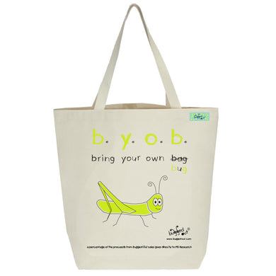 Bugged Out grasshopper tote bag