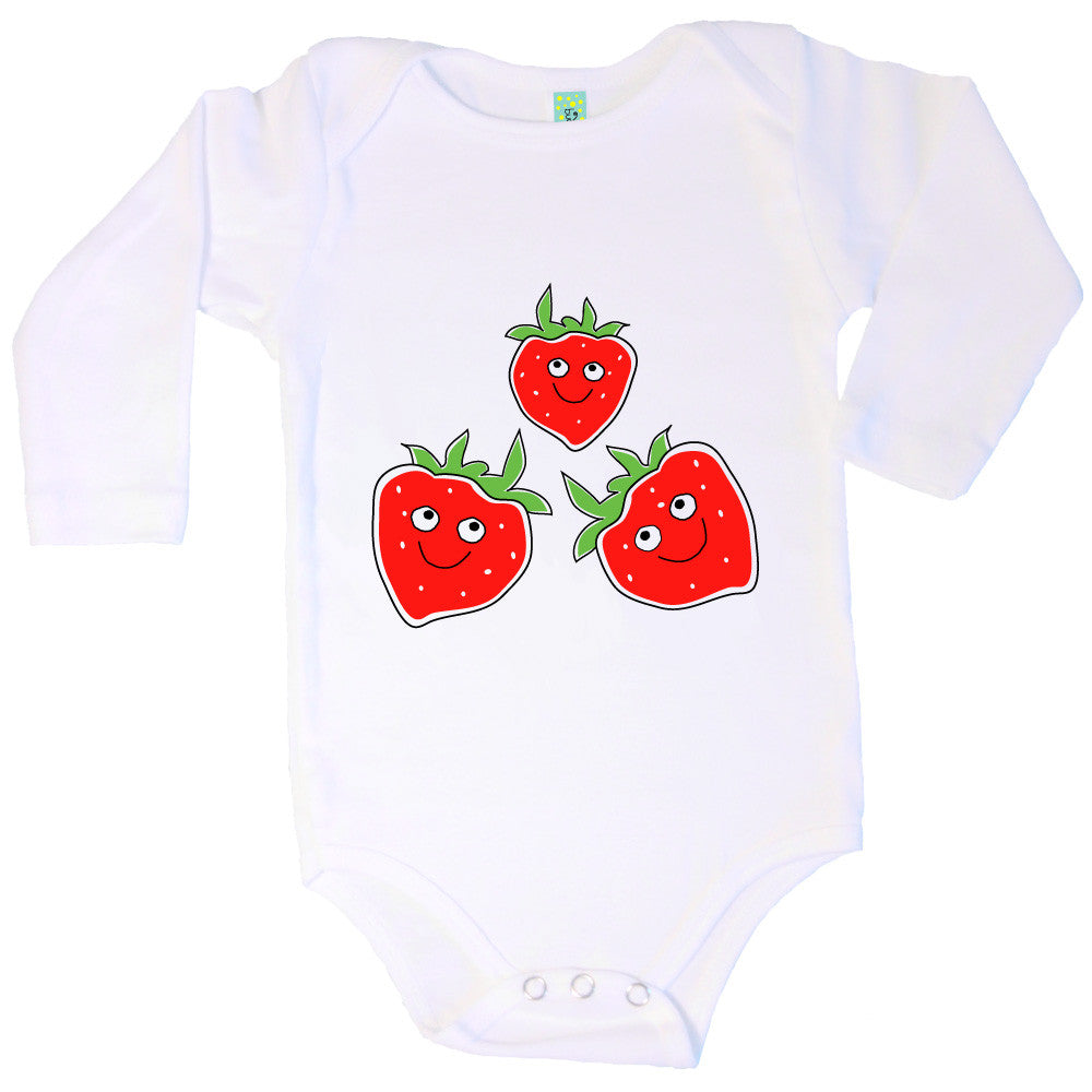 Bugged Out strawberry long sleeve baby onesie