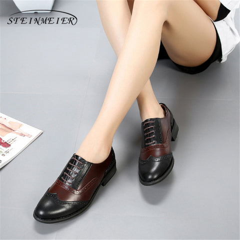 Genuine Cow Leather Casual Vintage Lady Flats Shoes Oxford Black Brown with Fur
