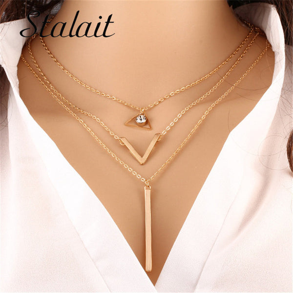 Gold Color Chain Multi Layer Necklaces Triangle Pendant Bar Pendant Boho Jewelry For Women
