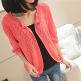 Makuluya Women Solid Color Sweater Cardigan Outerwear Short Sweater 1/2 Sleeve Cardigan
