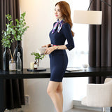 Sweetheart Neckline Women Slim Office Lady Red Half Sleeve Dress Career Apparel Work Wear