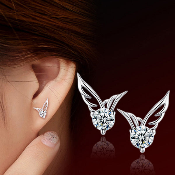 Silver Platinum Plated Zircon Angel Wing Shaped Ear Studs Earrings Fashion Jewelry