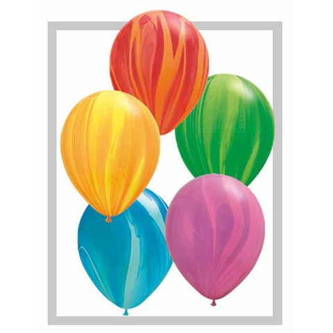 10 x Globos Látex 11 Superagata Surtido Arcoiris Qualatex