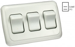 Switch Assembly Triple On/off Rocker Switch With Bezel, White 3412025 *