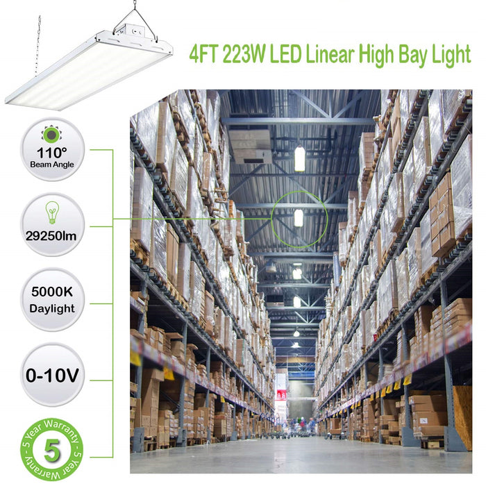 4 ft. 225W Linear LED High Bay Light Fixture, 29500 lm 5000K