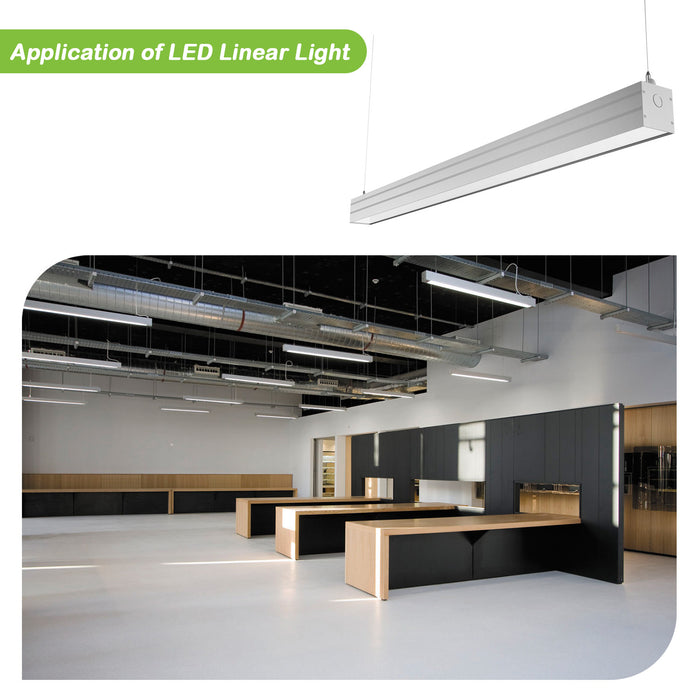 4FT 40W Linkable LED Architectural Linear Light For Office, 4600lm, 30K/40K/50K CCT Selectable, Silver Finish