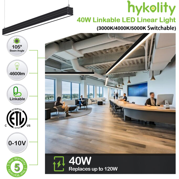 4FT 40W Linkable LED Architectural Linear Light For Office, 4600lm, 30K/40K/50K CCT Selectable, Black Finish
