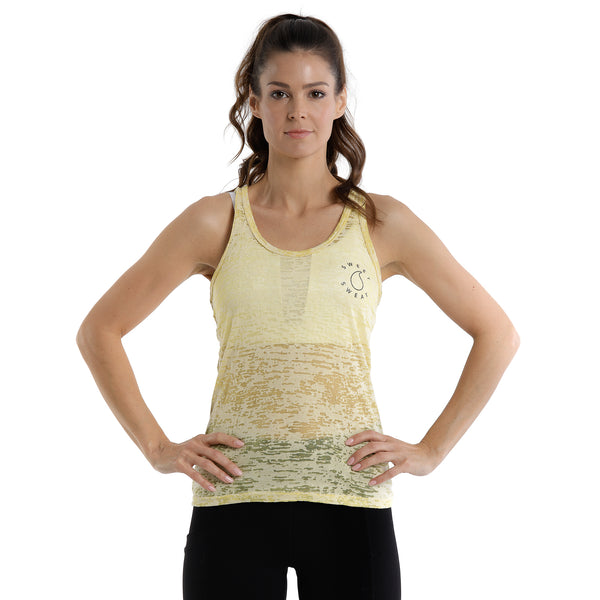 Activewear Yellow Burn Out Tank