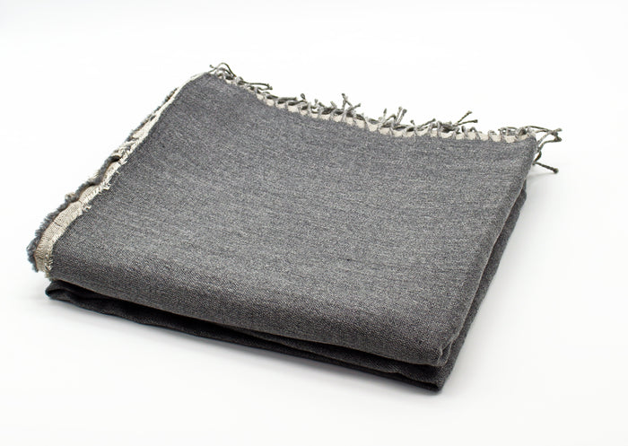 Linen/Merino Wool Reversible Throw in Grey - Pre Order