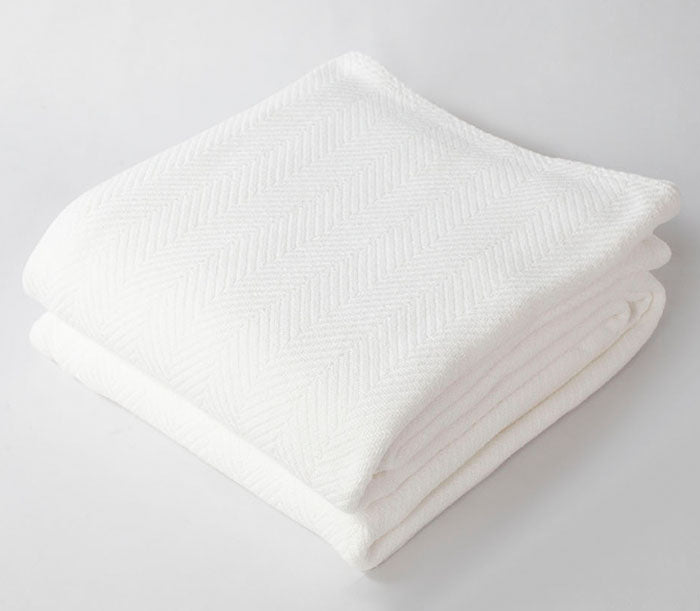 Herringbone Blanket Bright White