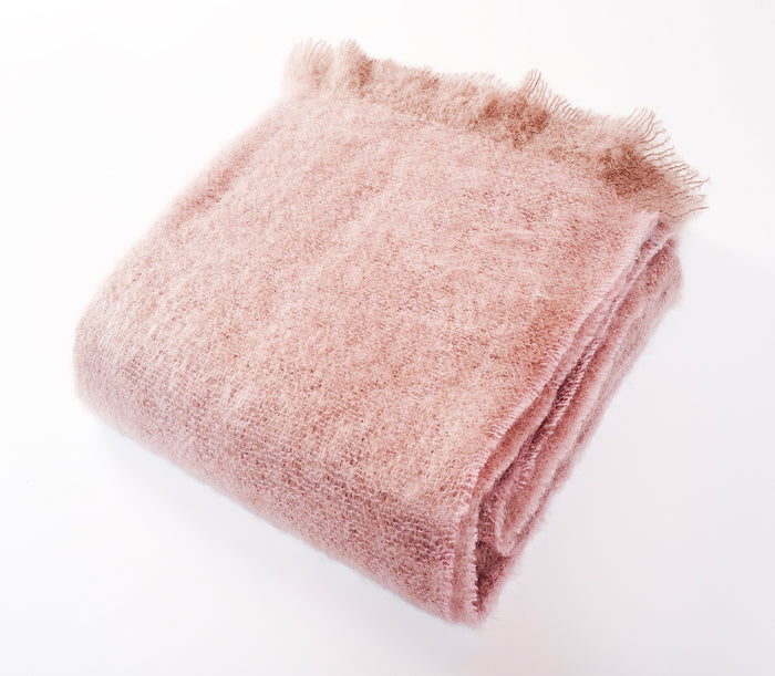 Luxe Mohair Throw Soft Rose