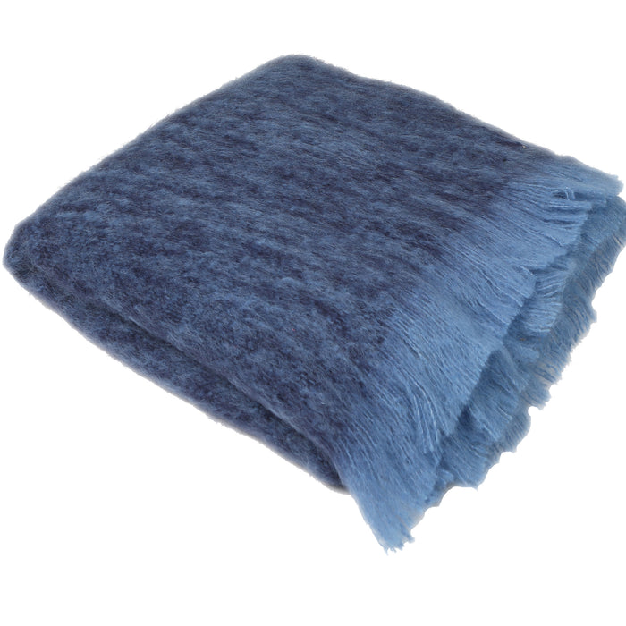 XL Luxe Mohair Bed Throw Sapphire/Light Blue